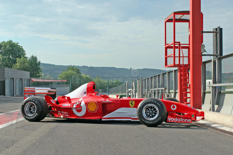 Michael Schumacher F1 no pitlane imagem de stock