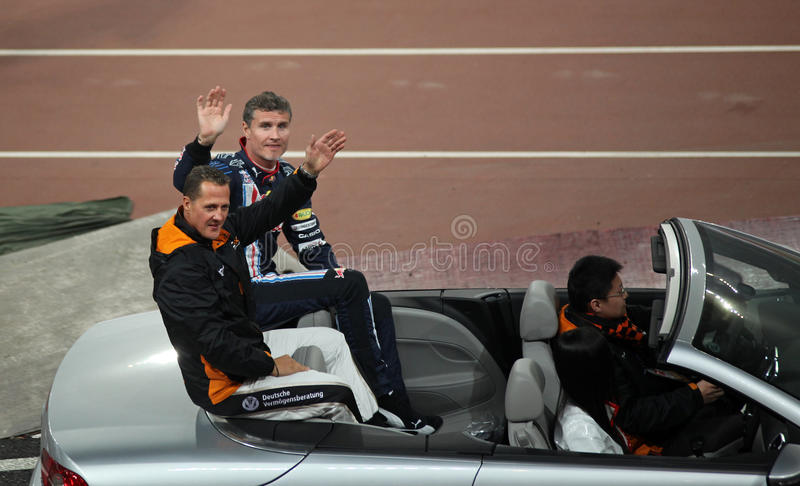 Michael Schumacher (GER) and David Coulthard (GB) stock images