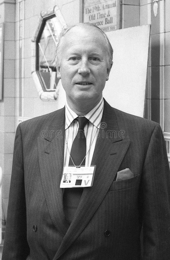 Michael Shersby. Conservative party Member of Parliament for Uxbridge, attends the party conference in Blackpool, England on October 10, 1989. He died in May royalty free stock photo