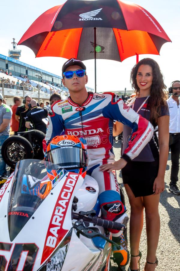 Michael Van Der Mark pilot av Superbikes SBK royaltyfria foton