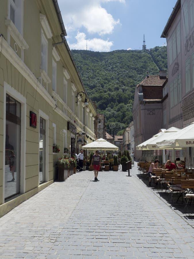 Michael Weiss street in Brasov, Romania stock photo