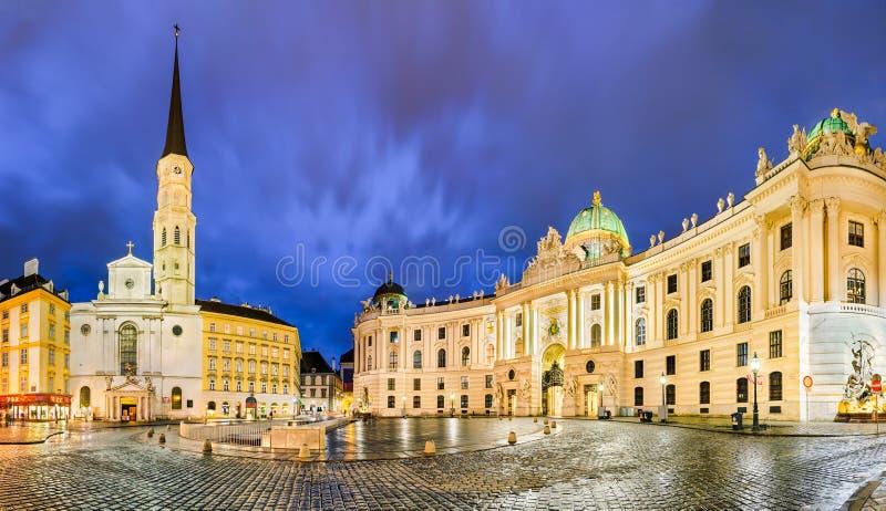 Michaelerplatz在维也纳,奥地利 免版税图库摄影