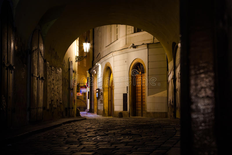 Michalská street. At the midnight hour, Prague, Czech Republic stock photography