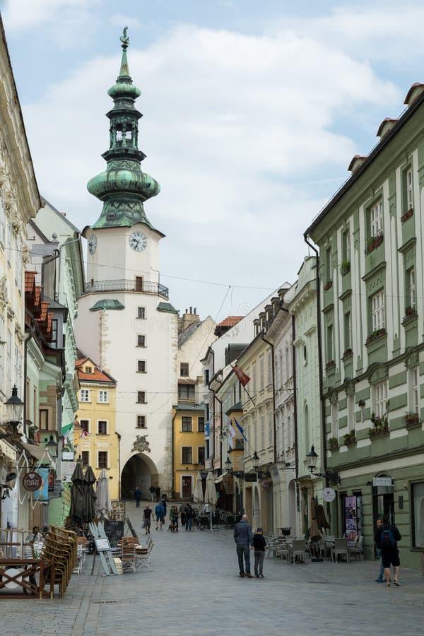 MIchalska street in Bratislava, Slovakia. BRATISLAVA, SLOVAKIA - MAY 2017 - Michalska street in Bratislava`s old town stock photo