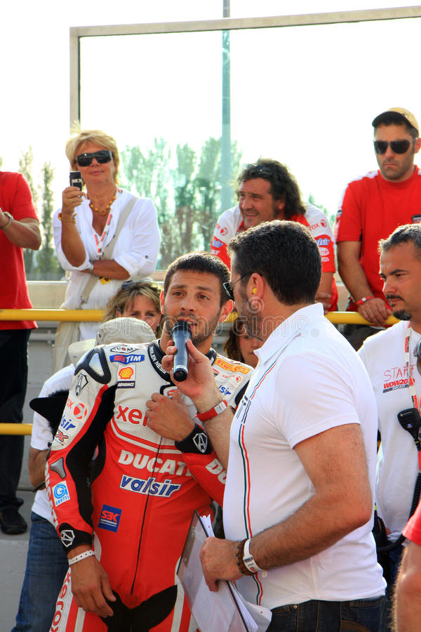 Michel Fabrizio at the World Ducati Week2010 event stock photos