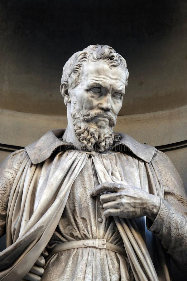 Michelangelo Buonarroti, statue in the Niches of the Uffizi Colonnade in Florence. Michelangelo Buonarroti, statue in the Niches of the Uffizi Colonnade. The royalty free stock photography