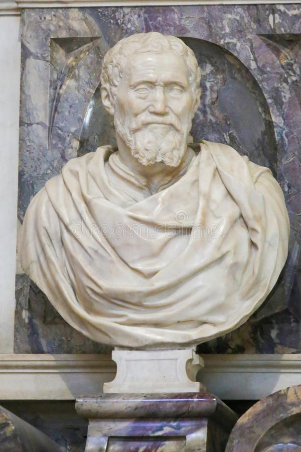 Michelangelo - Bust in Santa Croce, Florence stock photography