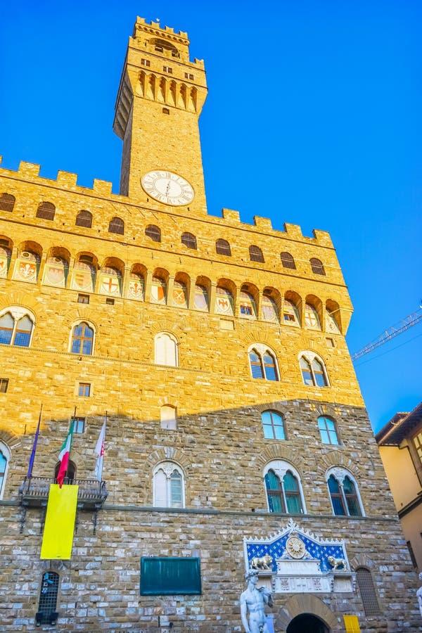 Michelangelo David Replica Statue Piazza Signoria Palazzo Vecchi imagens de stock royalty free