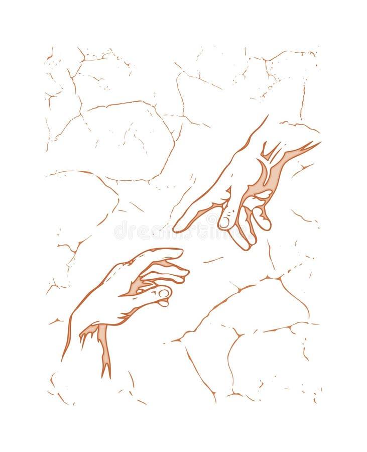 michelangelo De verwezenlijking van Adam Hand aan hand bruine silhouet vectortekening met fresko geweven achtergrond Af:drukken v vector illustratie