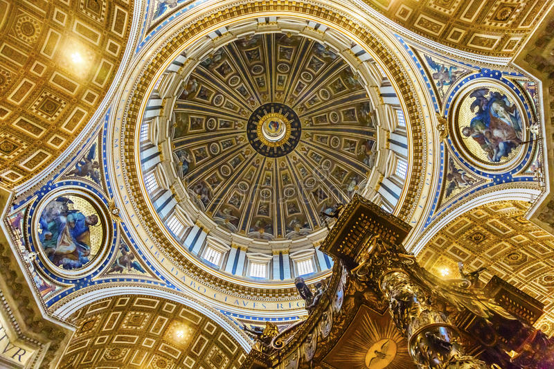 Michelangelo Dome Baldacchino; Altar Saint Peter`s Basilica Va. Tican Rome Italy. Dome built in 1600s over altar and St. Peter`s tomb royalty free stock image