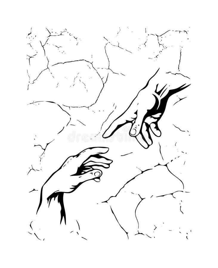 michelangelo La creaci?n de Ad?n Dibujo negro mano a mano de la silueta con el fondo texturizado fresco Impresi?n para la camiset ilustración del vector