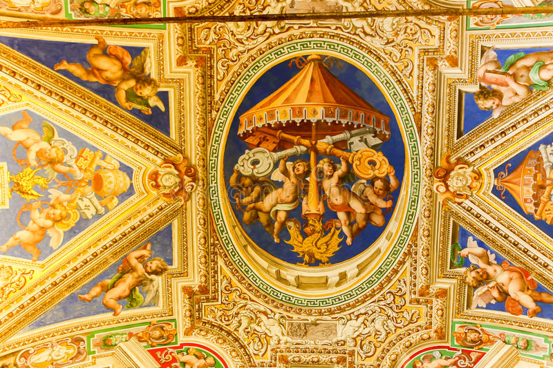 Michelangelo paintings at Sistine Chapel ( Cappella Sistina ) - Vatican, Roma - Italy. VATICAN CITY - April 27, 2015 Michelangelo paintings at Sistine Chapel ( royalty free stock photos