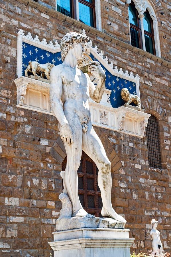 Michelangelo ` s David i piazzadellaen Signoria - Florence, Tuscany, Italien royaltyfri bild