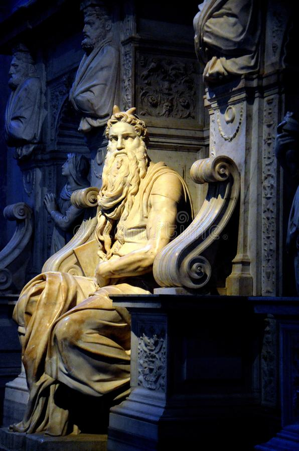 Moses statue by Michelangelo stock images