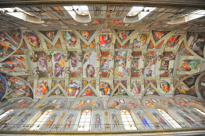 Michelangelo's Sistine Chapel paintings. Mural paintings representing Bible episodes painted by the famous Michelangelo Buonaroti on the ceiling of the Sistine
