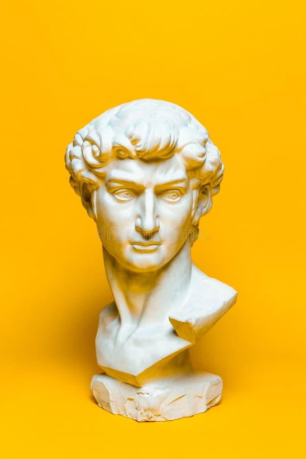 Michelangelos David Head på färgrik gul bakgrund royaltyfria foton