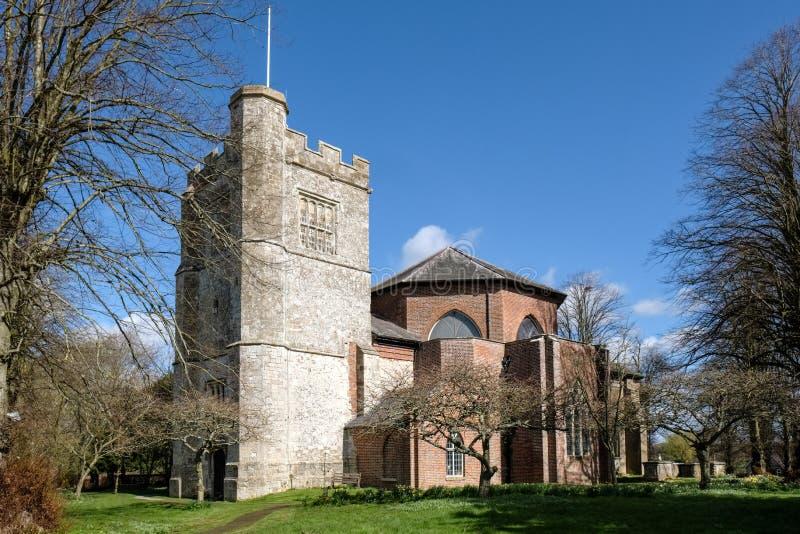 MICHELDEVER, HAMPSHIRE/UK - 21-ОЕ МАРТА: Взгляд церков ` s St Mary стоковая фотография