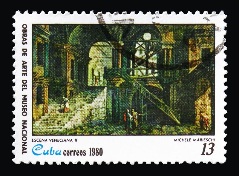 Michele Marieschi, `Venetian Scene II`, Paintings from the National Museum. MOSCOW, RUSSIA - AUGUST 18, 2018: A stamp printed in Cuba shows Michele Marieschi, ` stock photos