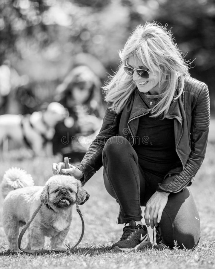 Michelle Collins bereit, eine Hundeshow auf Hampstead-Heide in London mit ihrem Hund Humphrey zu beurteilen lizenzfreie stockfotografie