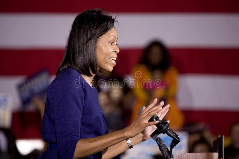 Michelle Obama. Speaking in front of African American audience during Barack Obama Presidential Rally, October 29, 2008 in Rocky Mount High School, North stock images