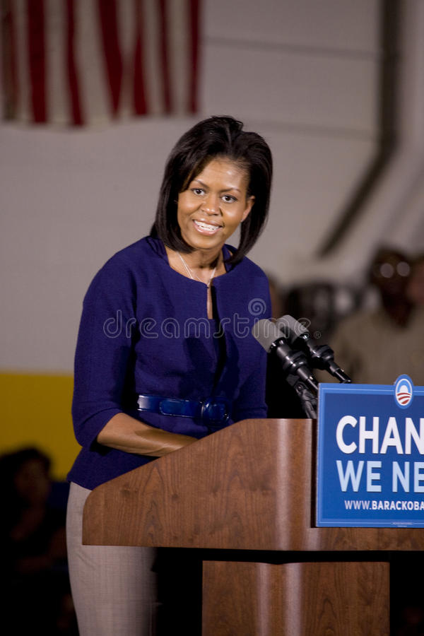Michelle Obama. Speaking in front of African American audience during Barack Obama Presidential Rally, October 29, 2008 in Rocky Mount High School, North stock photos