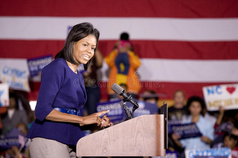 Michelle Obama. Speaking in front of African American audience during Barack Obama Presidential Rally, October 29, 2008 in Rocky Mount High School, North stock photo