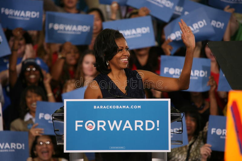 Michelle Obama. In front of audience during Barack Obama Presidential Rally in Las Vegas royalty free stock image