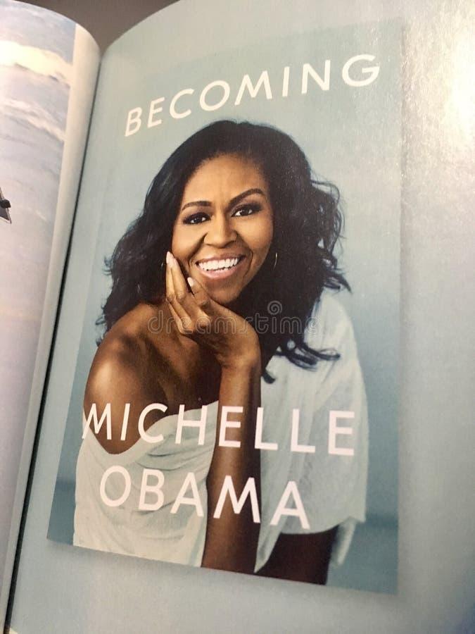 Michelle Obama em um compartimento fotos de stock
