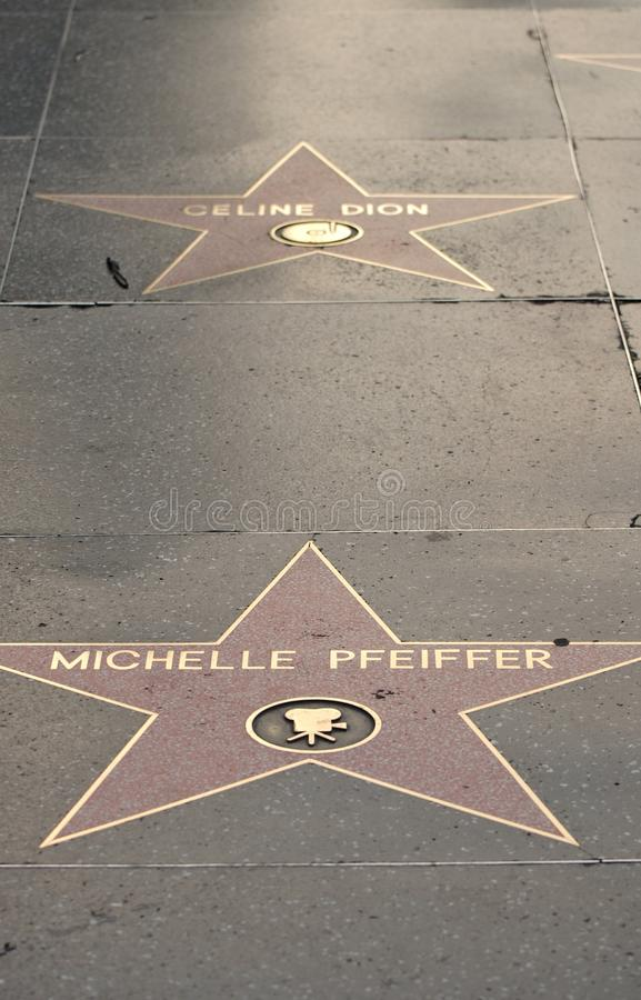 Michelle Pfeiffer's and Celine Dion's stars royalty free stock photo