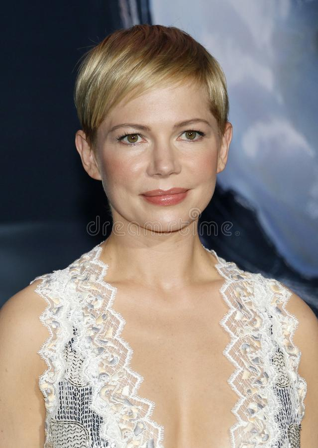 Michelle Williams. At the Los Angeles premiere of `Venom` held at the Regency Village Theatre in Westwood, USA on October 1, 2018 stock photos