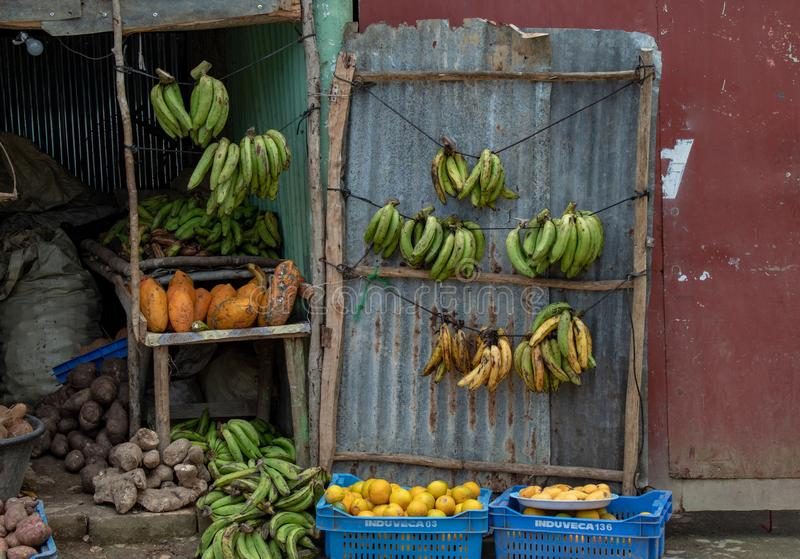 Miches, Dominican Republic: fruit and vegetable shop on the side of the road; typical and local royalty free stock photo