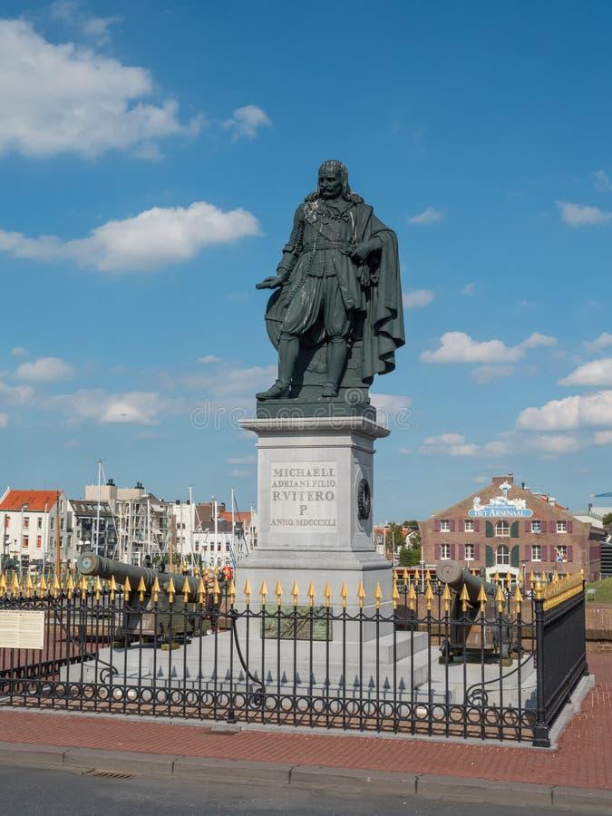 Michiel De Ruyter zabytek w Vlissingen, holandie zdjęcie royalty free