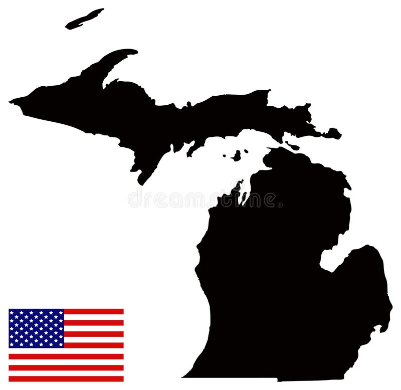 Michigan översikt med USA flaggan - tillstånd i Greaten Lakes och de mellanvästern- regionerna av Förenta staterna vektor illustrationer