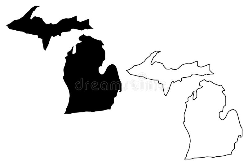 Michigan översiktsvektor vektor illustrationer