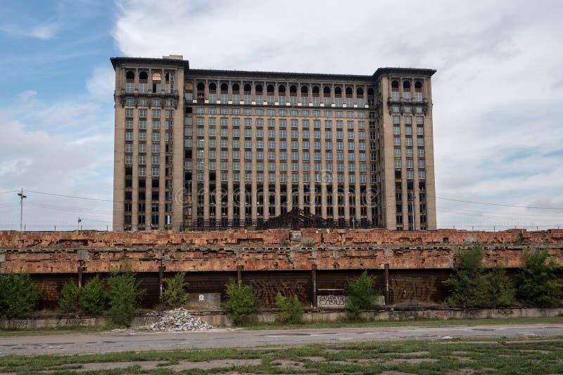 Michigan centralstation, baksida, Windows arkivbilder