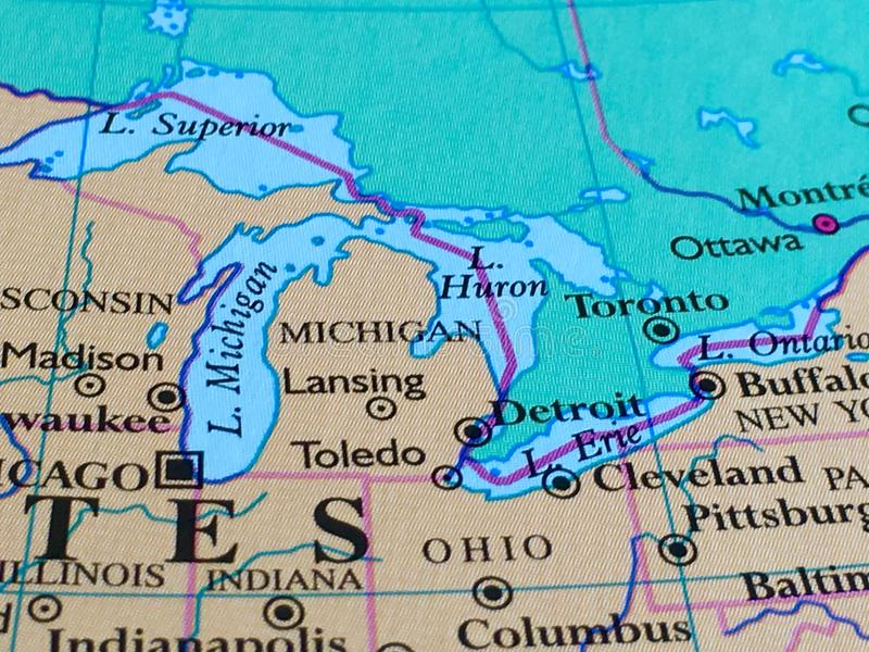 Michigan and Great Lakes on a Map stock photo