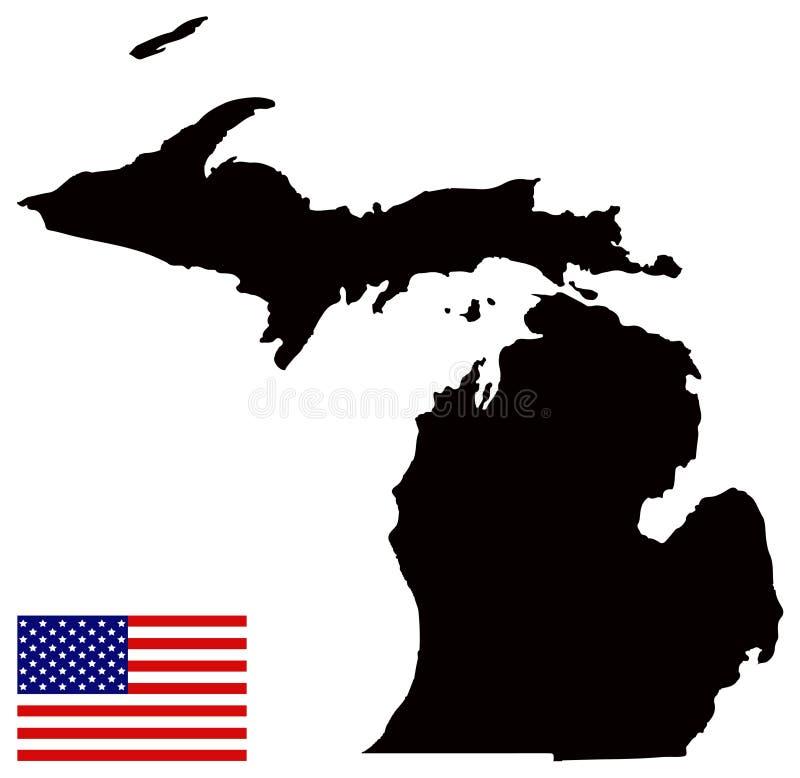 Michigan-Karte mit USA-Flagge - Zustand in den Great Lakes und Regionen in den des Mittelwestens der Vereinigten Staaten vektor abbildung