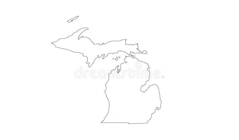 Michigan-Karte - Zustand Regionen in den des Mittelwestens der Vereinigten Staaten vektor abbildung