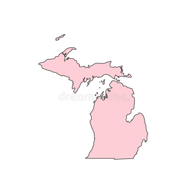 Michigan mapa odizolowywająca na białej tło sylwetce Michigan usa stan ilustracji