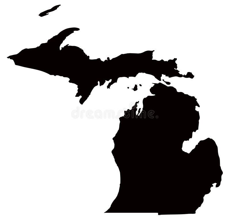 Michigan mapa - stan w Stany Zjednoczone Ameryka ilustracji