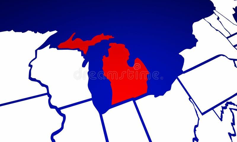 Michigan MI stan Stany Zjednoczone Ameryka stanu mapa royalty ilustracja