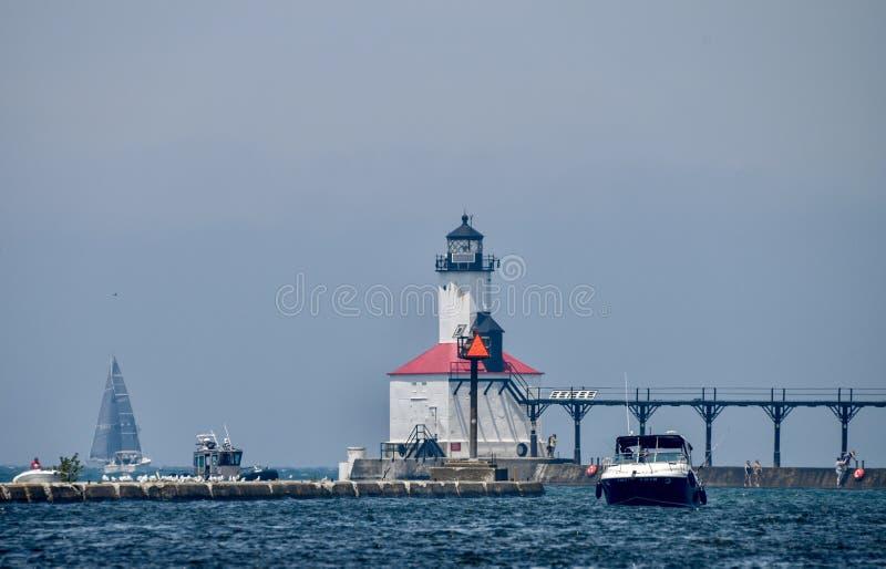 Michigan miasta falochronu latarnia morska -1 zdjęcie royalty free