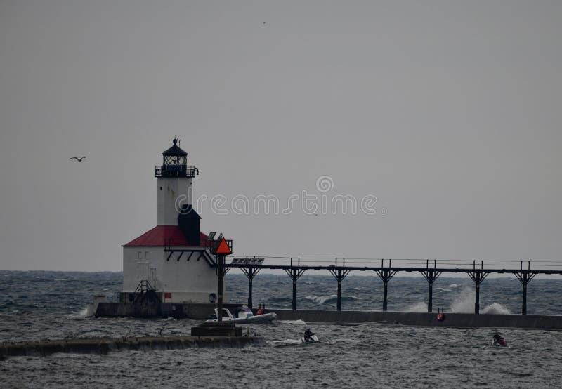 Michigan miasta falochronu latarnia morska -2 fotografia stock