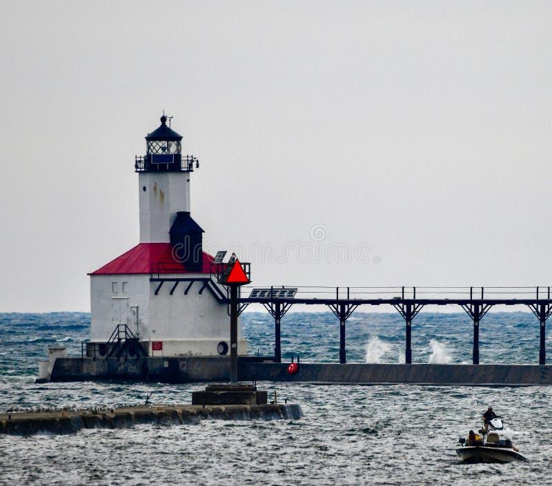 Michigan miasta falochronu latarnia morska -3 zdjęcie stock