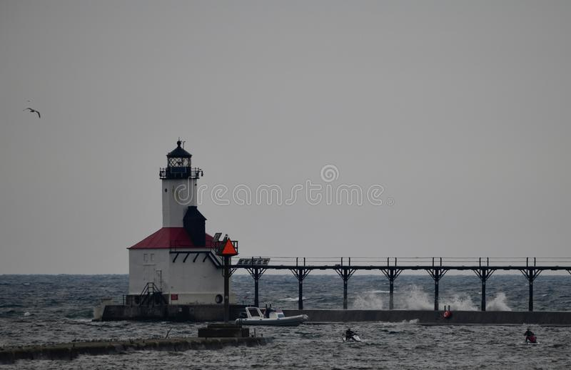 Michigan miasta falochronu latarnia morska -4 fotografia stock