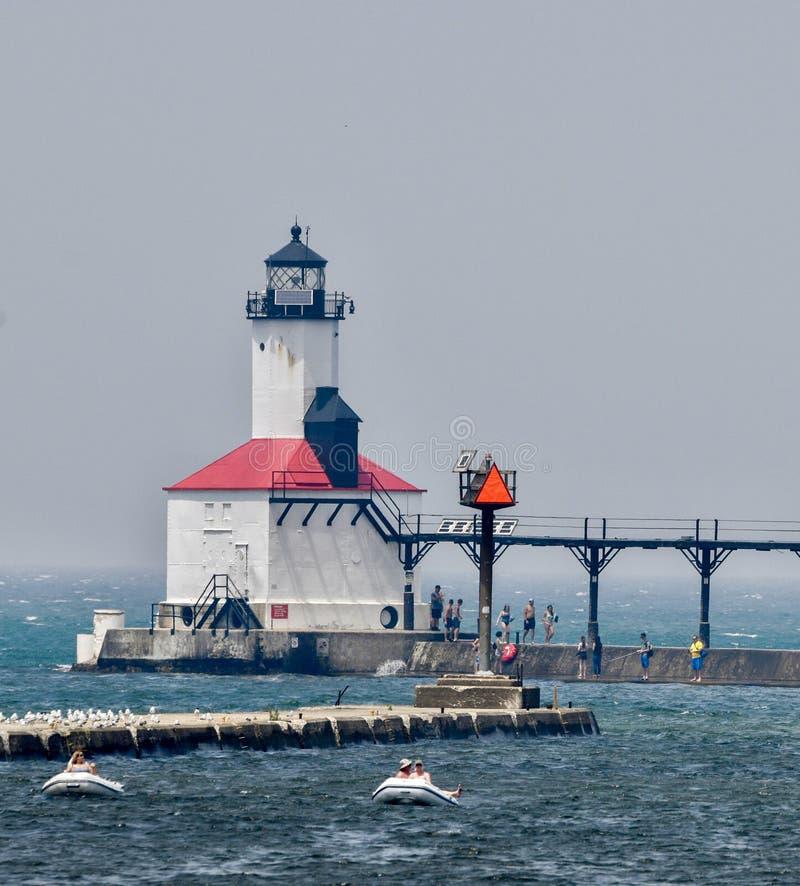 Michigan miasta falochronu latarnia morska -5 obrazy stock