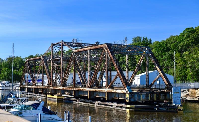 Michigan miasta linii kolejowej most zdjęcia royalty free