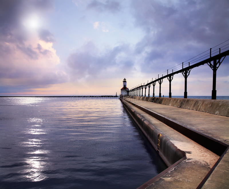 Michigan miasta Pierhead Wschodnia latarnia morska zdjęcia royalty free
