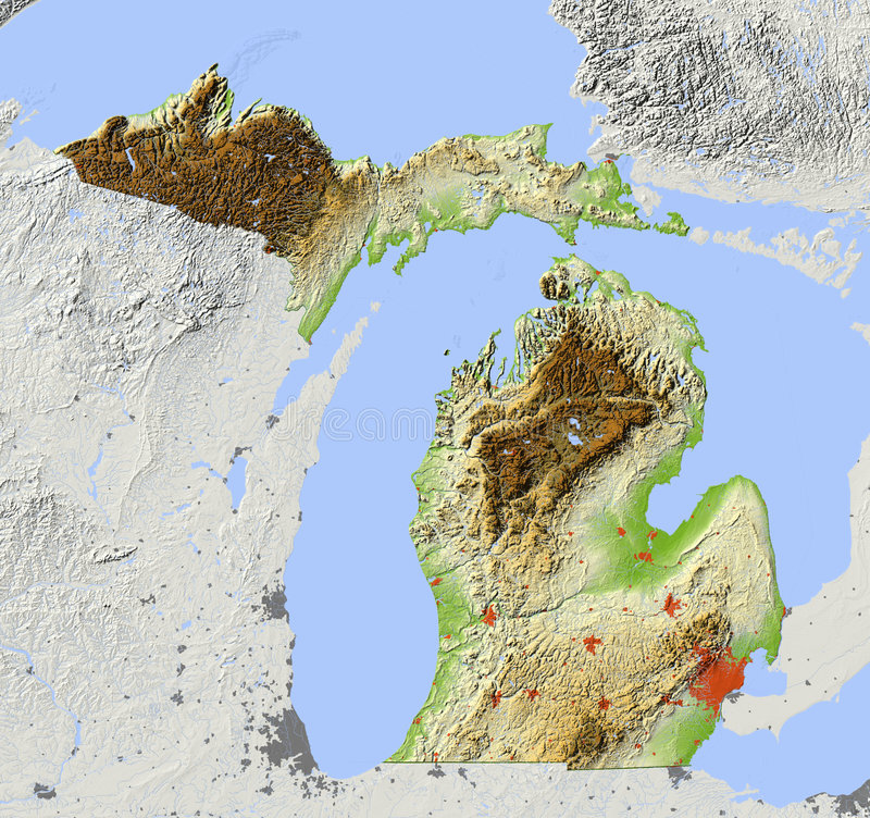 Michigan relief map stock illustration Illustration of topographic