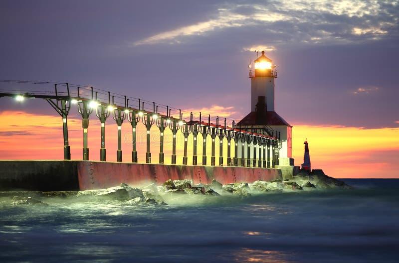 Michigan-Stadt-Leuchtturm, Michigan-Stadt, Indiana lizenzfreie stockfotografie